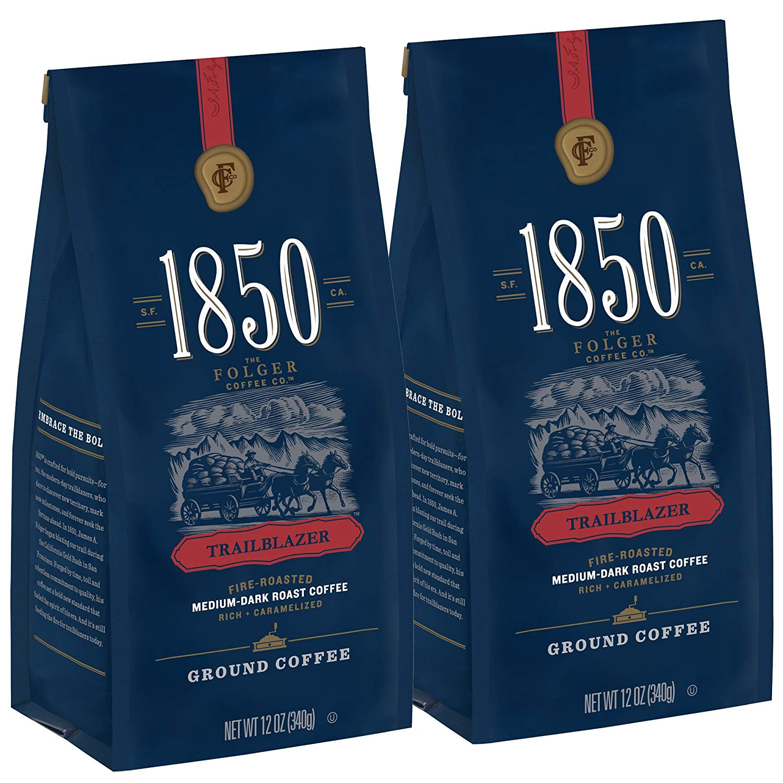 1850 Trailblazer, Medium-Dark Roast Ground Coffee, 12 Ounces (Pack of 2)