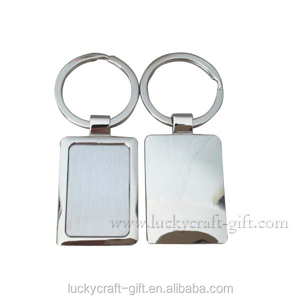 Custom rectangle blank metal keychain holders china supplier