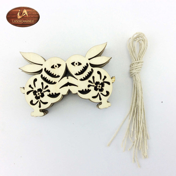 Laser Cutting Bunny Christmas Rustic Ornaments Slice / Holiday Decor /Wooden Engraved Gift