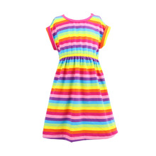 Wholesale Summer Clothes Rainbow Fabric Colorful Seven Color Strip Fashion Modern Girls Dresses