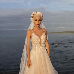 2018 Beach Wedding Dresses Floral Spaghetti Illusion Sexy Boho Wedding Gowns Beading Backless Bohemian Bride With Cape