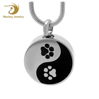 Yin and Yang Cremation Jewelry 316L Stainless Steel Necklace Ashes Urns Keepsake Cat Paw Prints Pendant