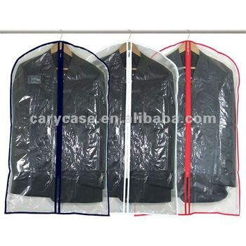 Fashionable Zippered Clear Plastic Garment Bag Suit Cover