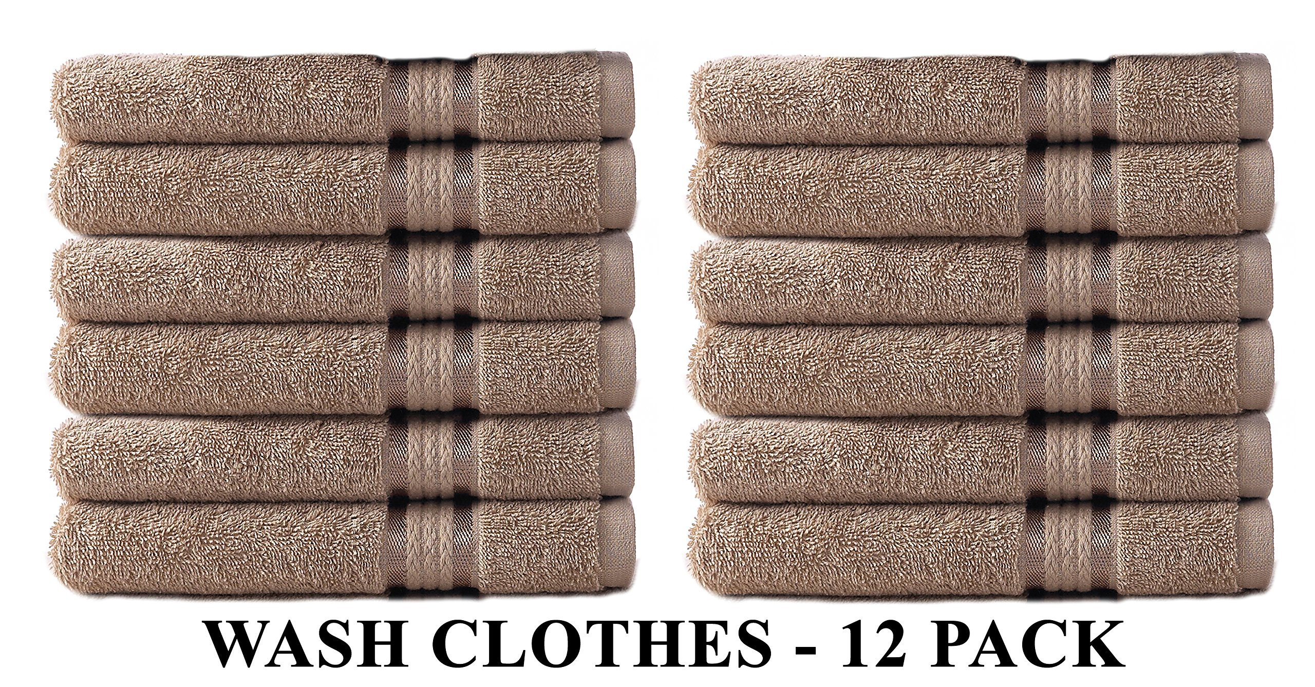 Cotton Craft Ultra Soft 12 Pack Wash Cloths 12x12 Linen weighs 2 Ounces each - 100% Pure Ringspun Cotton - Luxurious Rayon trim - Ideal for everyday use - Easy care machine wash