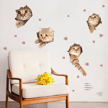 Children room 3d cute cat animal wall stickers