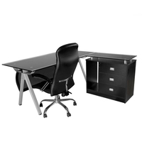 Foshan factory black tempered modern glass desk office furniture with drawer