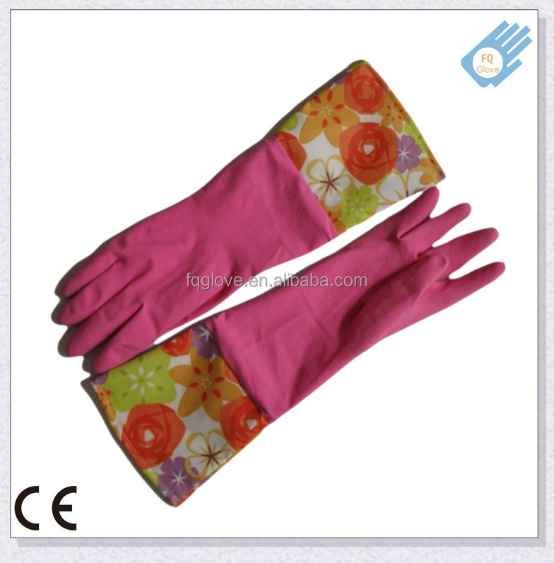 Top Latex Long Sleeve FlocklinedHousehold Glove with Colorful Cuff