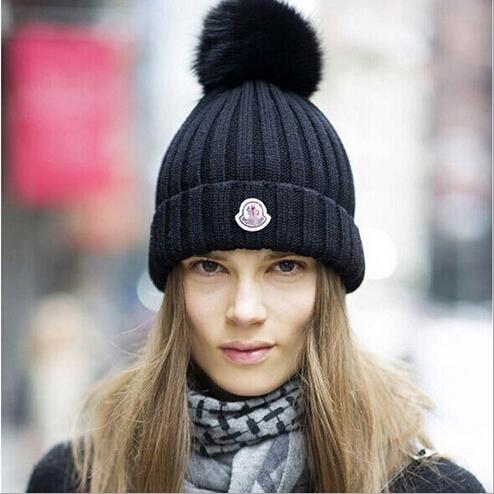 Оптовая продажа 2015 новая шляпа мода дамы Skullies шапочки вязать зимняя шапка женщин с большим меховым помпоном шары бесплатная доставка