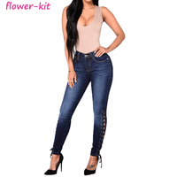 Women's High Waist Skinny Stretch Denim Ankle Lace Up Jean Free Samples Denim Jeans