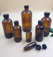 16oz pharmaceutical bottle amber glass boston round 500ml round bottle with black cap