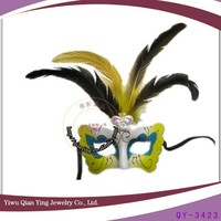Yellow decorative mardi gras feather party city masks for masquerade