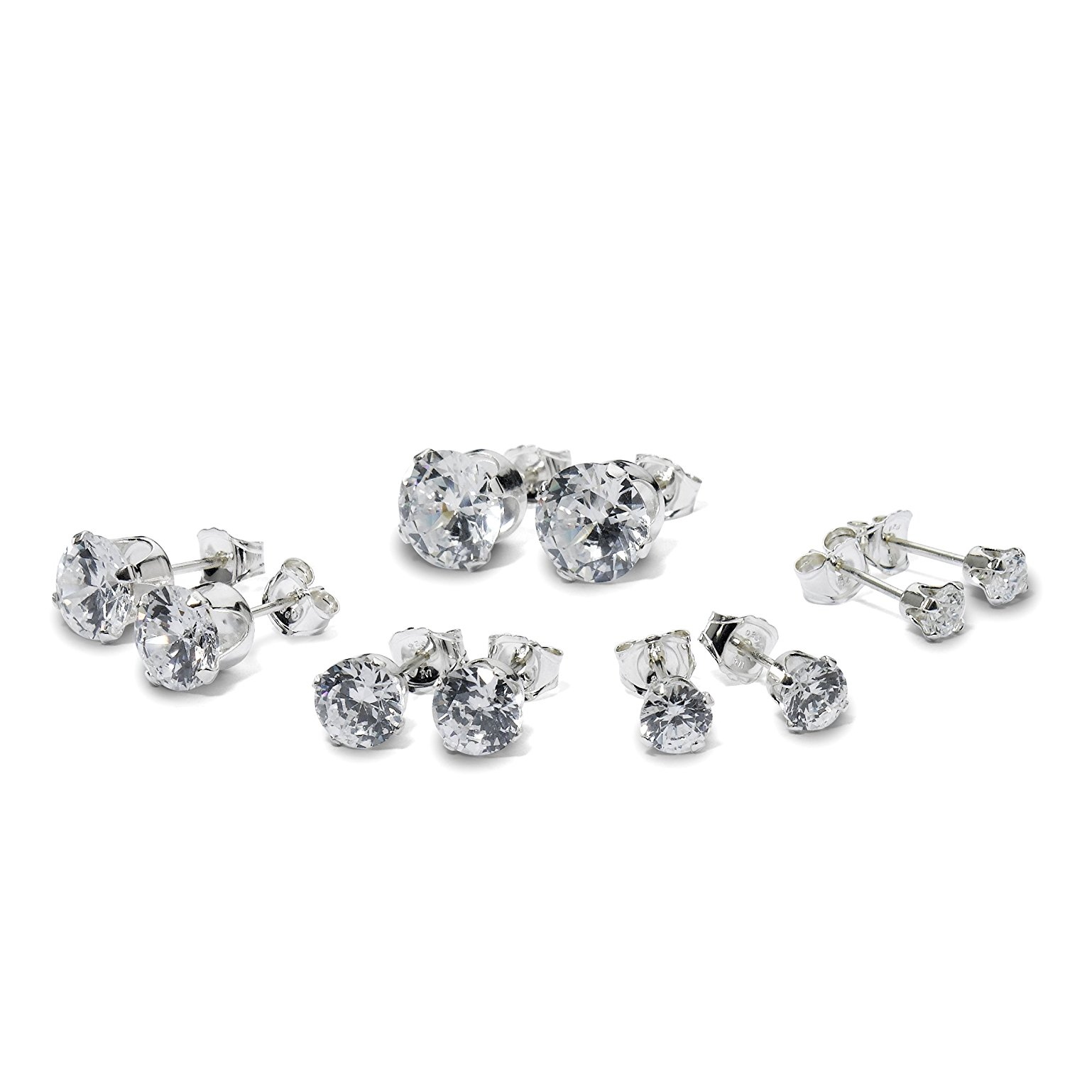 72c44ad55 CZ Stud Earrings Sterling Silver - Cubic Zirconia Jewelry Five Pair Set  Sizes 3mm 4mm 5mm