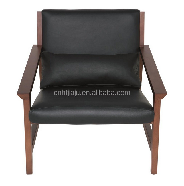 Wooden frame lounge chair/Solid brich frame chair /leather upholstery chair