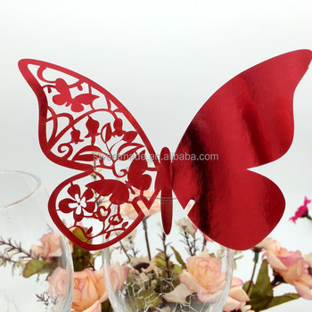 Colorful DIY Butterfly Wedding Wine Glass Table Invitation Gift Place Name  Card For Party Decoration