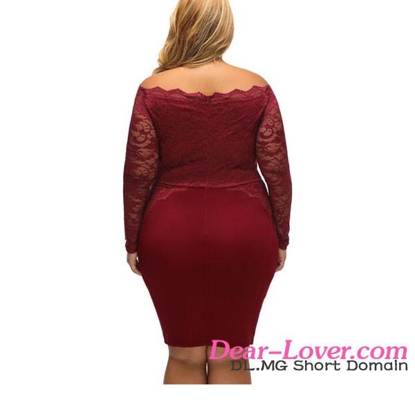 63b022cb252 Beautiful Wholesale Fat Women Wine Off Shoulder Long Sleeves Plus Size Lace  Dress