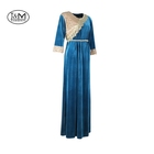 JM-15G Blue color KS korea velvet fabric Muslim clothing Dubai casual women Abaya Maxi Muslim lady Dress