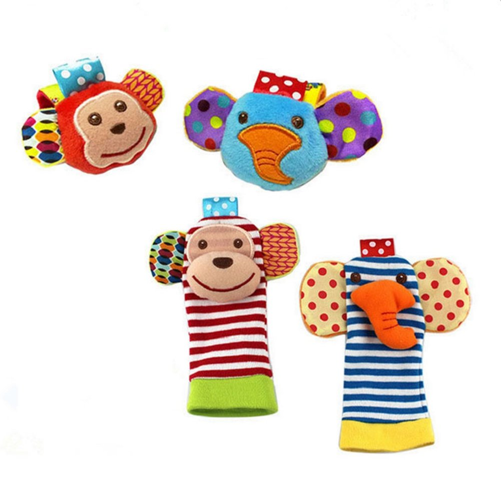 ThinkMax Baby Rattle, 4PCS Baby Wrist Rattle and Foot Rattles Finder Socks Set, Developmental Soft Animal Rattles Infant Baby Toys (Monkey and Elephant)