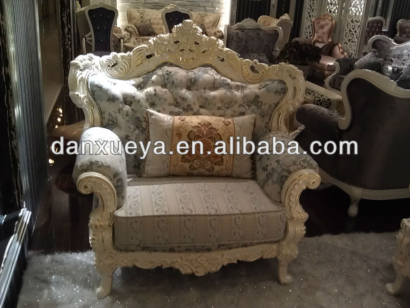 French Style Antique Luxury Fabric Wooden Sofa Victoria