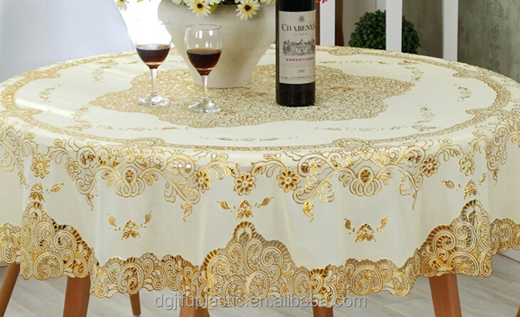 Pvc Lace With Gold 132 Round Table Cloth Runner Tablecloth Product On