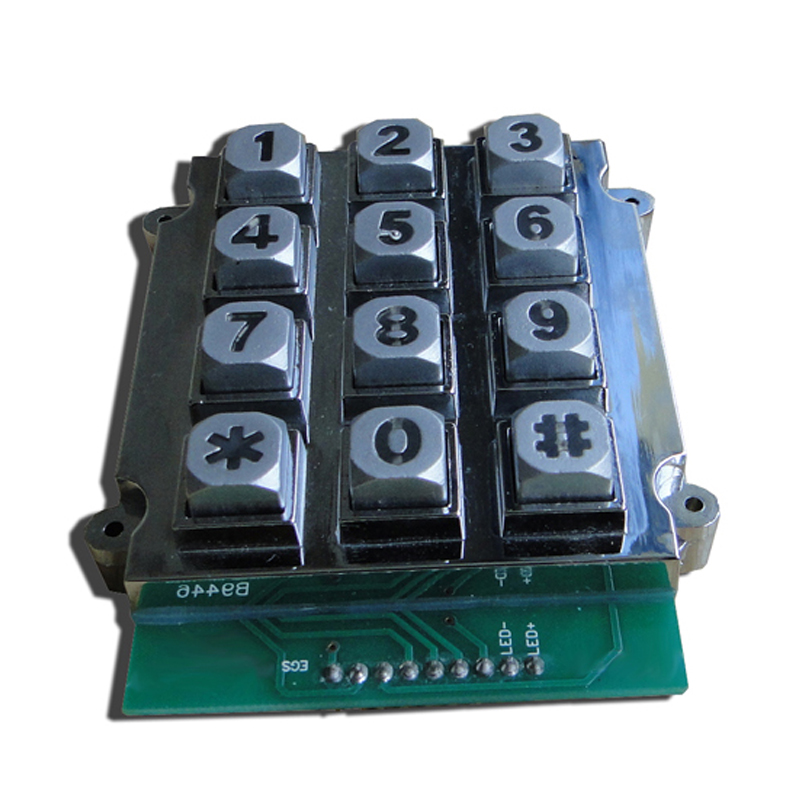 Metal backlit access control outdoor keypad with 12 keys