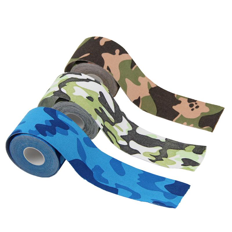 Speciale custom 5 cm * 5 m bevorderen healing sport camo gedrukt spier kinesiologie tape