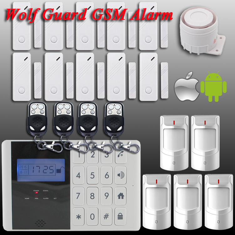 Бесплатная доставка! Нью-волк меч-гвардии android-ios приложения 433 мГц датчик GSM Sim вызова жк-смарт Dislay + сенсорной клавиатурой главная охранная безопасности