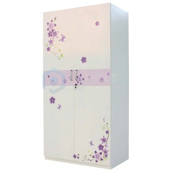 New Customized Bedroom Wardrobe Design White and Flower Printing KD Structure Steel Almirah With Cheap Price