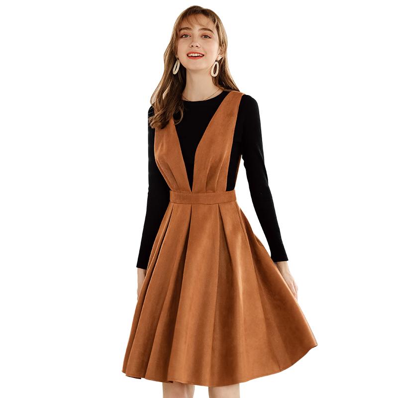 5c5d8ea7ae52 2018 roupas de outono e inverno das mulheres em torno do pescoço longo- vestido de