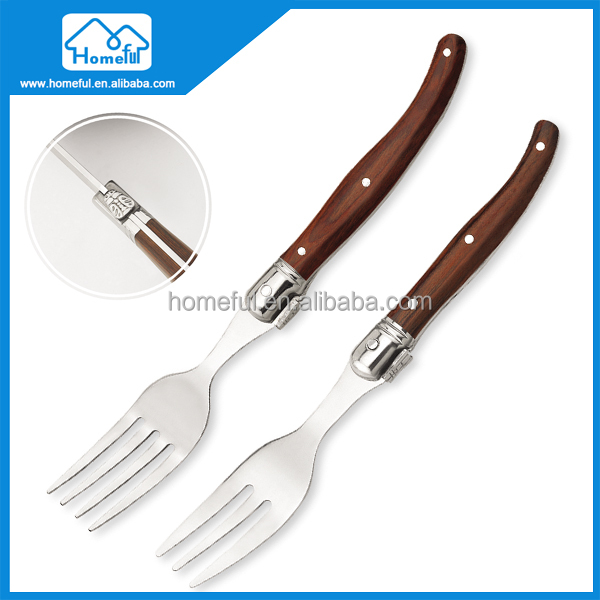 cheap stainless steel dinner fork and wooden handle cutlery set