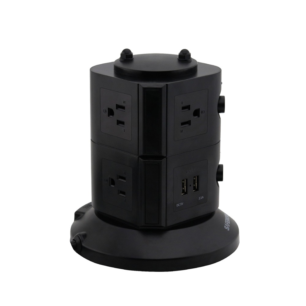 Pop up Desktop power tower 6 US Sockets Outlet and 4 USB Charging slots