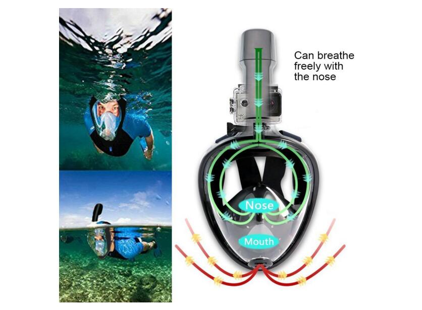 Snorkel Mask 180 View Gopro Compatible Free Breath with Anti-fog and Anti-leak Technology for Adults and Kids
