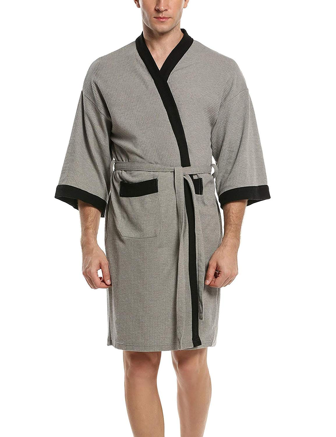 2b3ecf9865 Get Quotations · MAXMODA Men s Waffle Kimono Robes Spa Bathrobe Terry Cloth  Sleep Robe ...