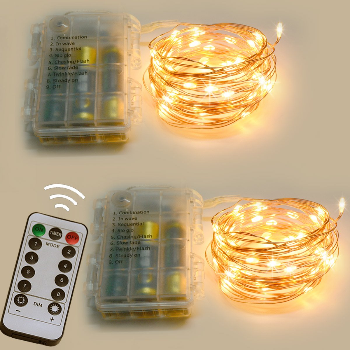 Homeleo 2Pack Battery Operated LED Copper String Lights, 16.4ft 50 LED 8 Modes Dimmable Fairy Lights with Remote Control(Warm White)