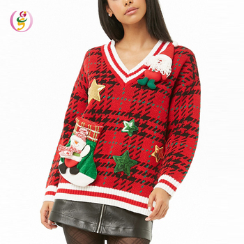 long sleeves plaid print Plaid Holiday women sweater snowman attached pullover christmas sweater