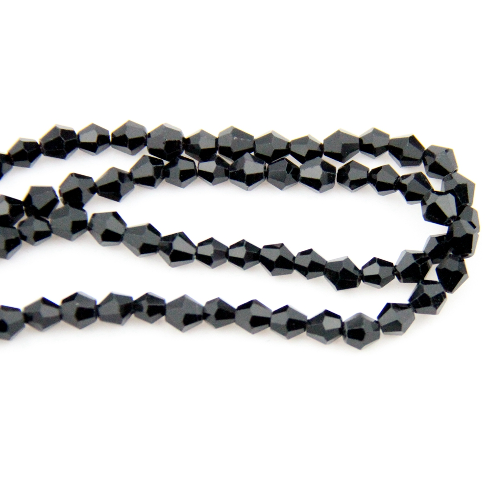 2017 new 4mm jet black Crystal glass Bicone Beads for jewelly