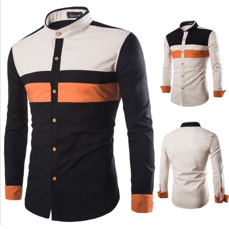 New style <strong>men</strong> slim fit long sleeve color blocking casual dress shirts