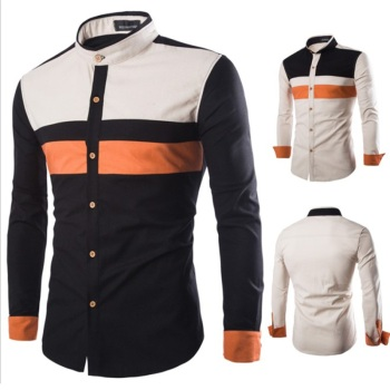 New style men slim fit long sleeve color blocking casual dress shirts