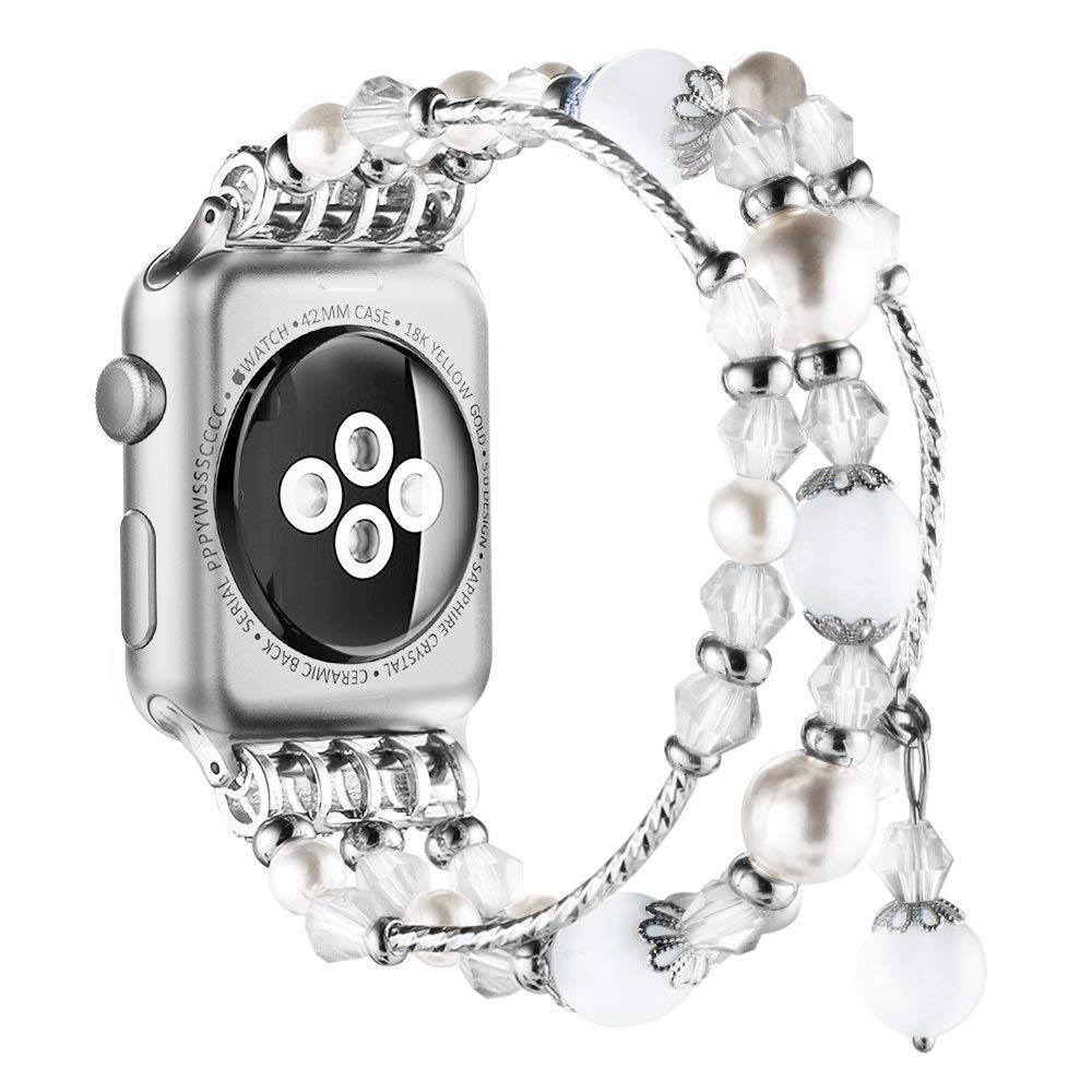 New Watch Band for Apple Watch Series 3, 2, 1, Bingkers Luxury Handmade Pearl Agate and Elastic Stretch Crystal Bracelet Strap Wristband Women Apple Watch iWatch 3/2/1 Band (White, 42mm)