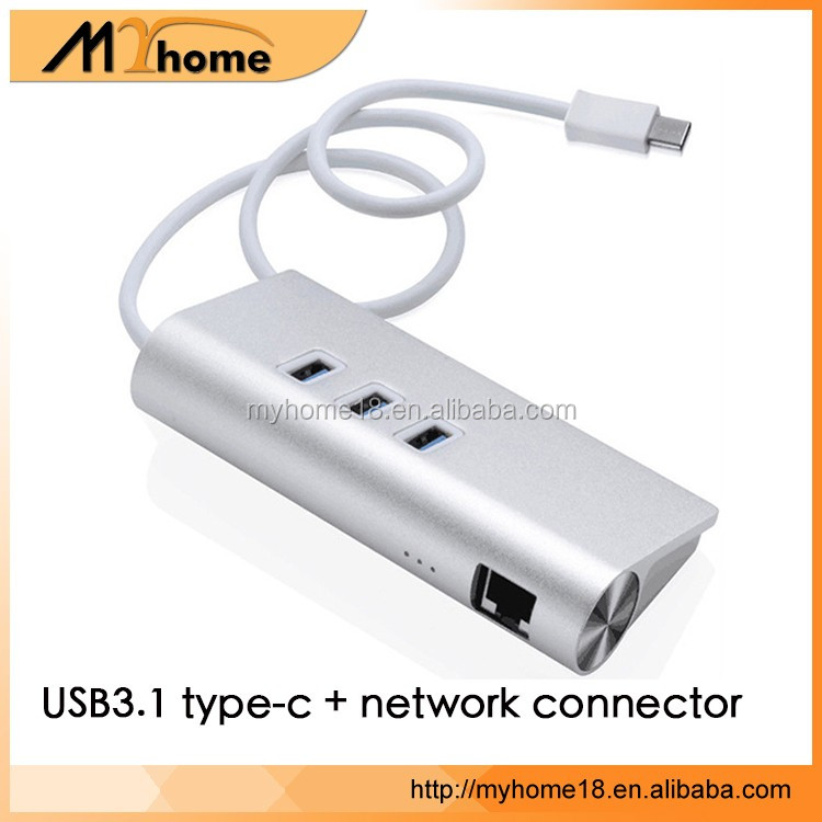 3 Ports USB-c type c 3.0 Hub with RJ 1000Mbps Gigabit Ethernet Network adapter Support Window XP, Vista, Mac OS X and Linux