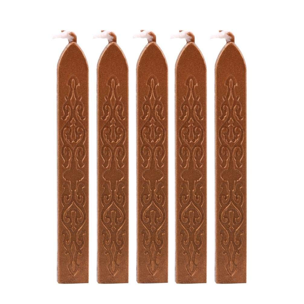 5 Pcs Sealing Wax Stick with Wicks, Vintage Totem Fire Manuscript Sealing Wax Sticks with Wicks Multi-Color Cord Wick Sealing Wax For Postage Letter Retro Vintage Wax Seal Stamp (Brown)