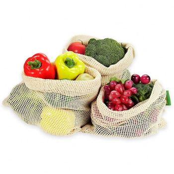 Eco-Friendly Recyclable Reusable Produce Bags Set of 9/10/12 Cotton Fruits Drawstring Vegetable Grocery Shopping Cotton Mesh Bag