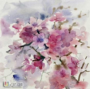 Home Decoration Canvas Chinese Watercolor Flower Painting For Living