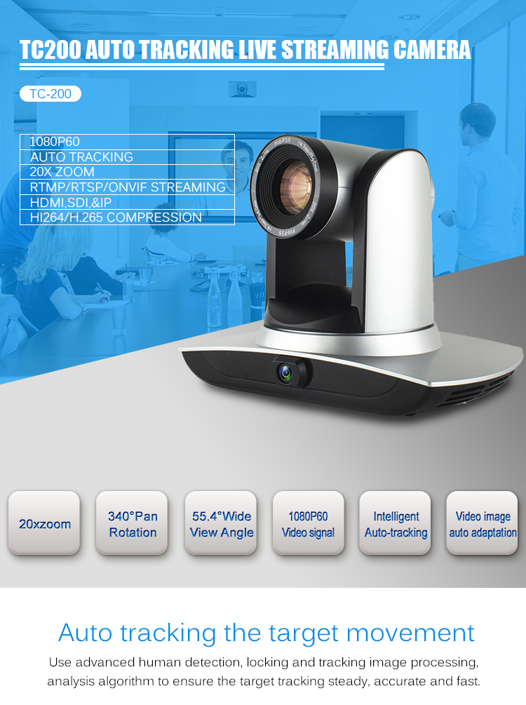 20x Zoom Auto Motion Tracking 1080p60 Video Conference Live