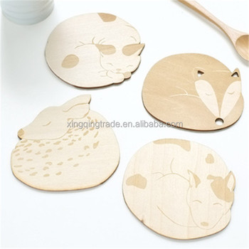 Cute Animal Wood Coaster Drink Coffee Table Cup Mug Mat Placemat