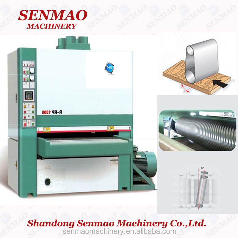 MM5313R-R-RP 3 heads single side Wide belt sanding machine/dust collect sander machine