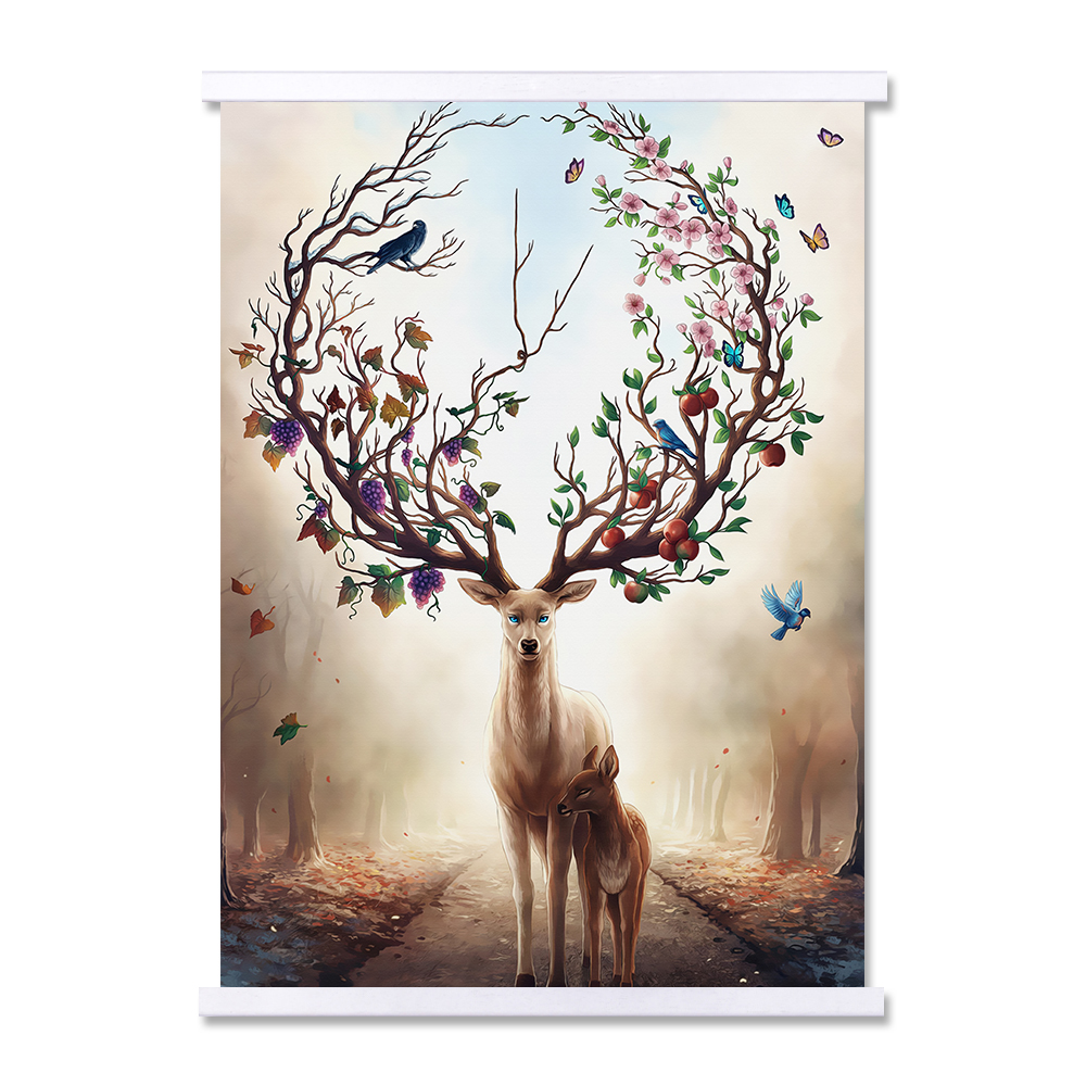 Happiness Deer New Picture Landscape Hanging Frame Canvas Print