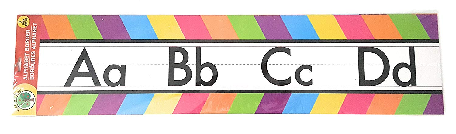 Teaching Tree Manuscript Alphabet Bulletin Back to School Board Creative Strips School Office Resources Scholastic Teacher Teacher's Bulletin Trim Wall Border Decal Classroom Decoration Colored Strips