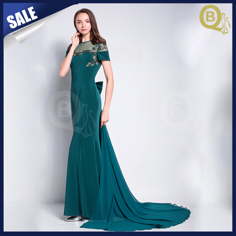 Floor touching sexy back see through evening dress with elegant tail design factory on alibaba china