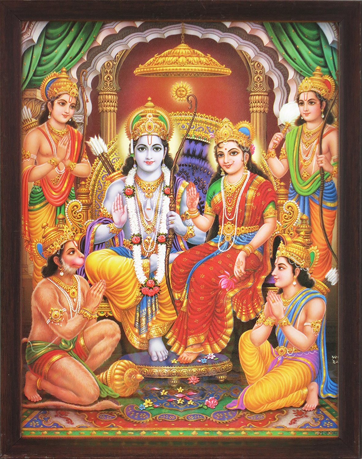 Lord Ram in His Palace with Laxman, Sita, Hanuman and His Brother, a Holy Religious Poster Painting with Frame for Hindu Worship Purpose