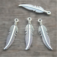 Feather charms Antique Silver Feather Charms/pendants 8x35mm
